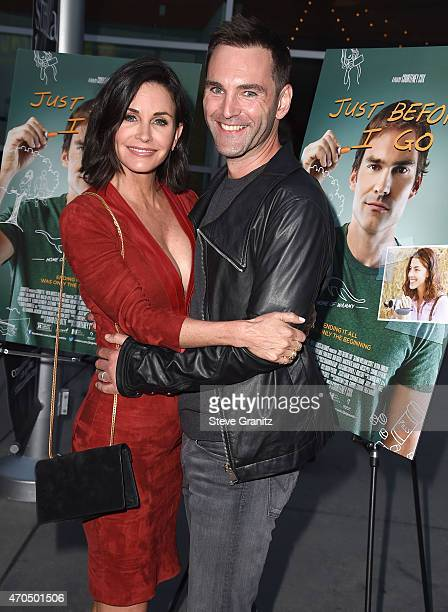 Courteney Cox and Johnny McDaid arrives at the 'Just Before I Go' Los Angeles Special Screening at ArcLight Hollywood on April 20 2015 in Hollywood...