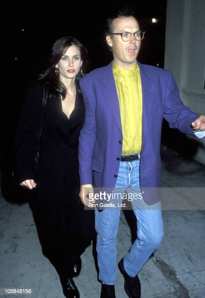 Courteney Cox and Michael Keaton during Wrap Party for 'Batman Returns' March 6 1993 at Mayan Theater in Los Angeles California United States