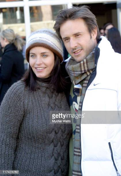 Courteney Cox Arquette and David Arquette during Park City 2004 Philips Lounge at Village at the Lift in Park City Utah United States