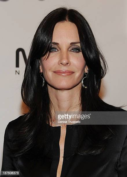 Courteney Cox arrives at ABC's 'Cougar Town' viewing party at Moon Nightclub at Palms Casino Resort on January 21 2012 in Las Vegas Nevada