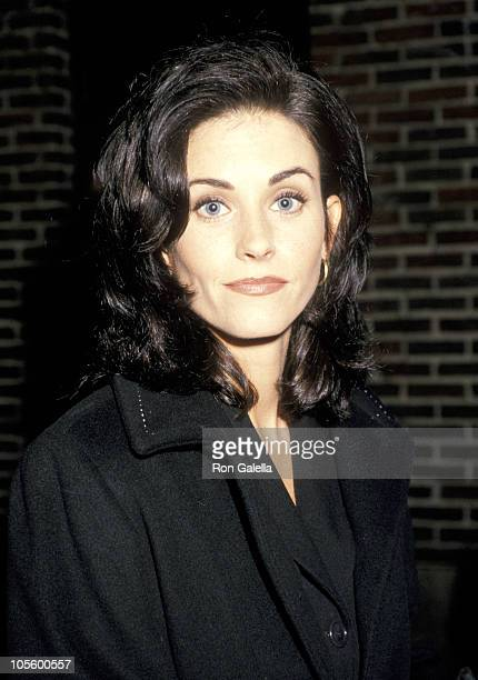 Courteney Cox during Courteney Cox Visits 'The Late Show with David Letterman' January 20 1995 at The Ed Sullivan Theater in New York City New York...