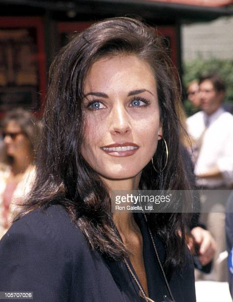 Courteney Cox during Michael Keaton Hand and Footprint Ceremony June 15 1992 at Mann's Chinese Theater in Hollywood California United States