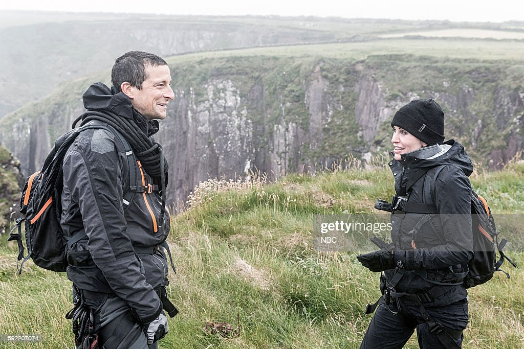 GRYLLS -- 'Courteney Cox' Episode 306 -- Pictured: (l-r) Bear Grylls, Courteney Cox --