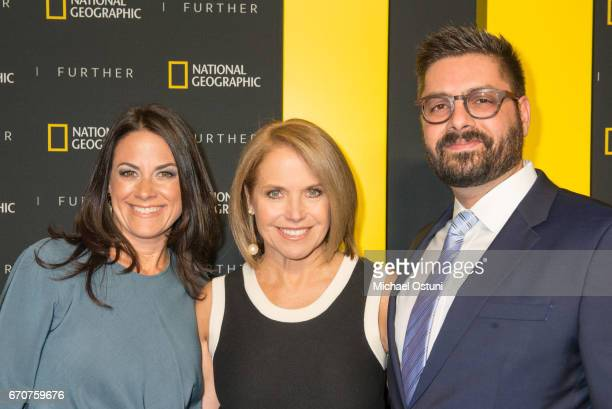 Courteney Monroe Katie Couric and Tim Pastore attend National Geographic FURTHER FRONT at Jazz at Lincoln Centerâs Frederick P Rose Hall on April 19...