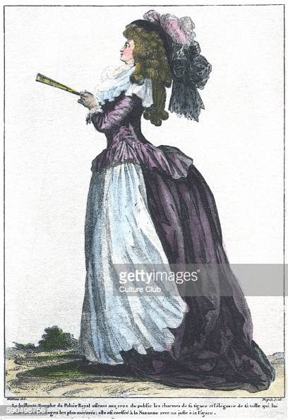 Courtesan of the Palace of Louis XVI Side view of woman in French court dress from 1781 wearing a full skirt a tightly fitted bodice a large hat...