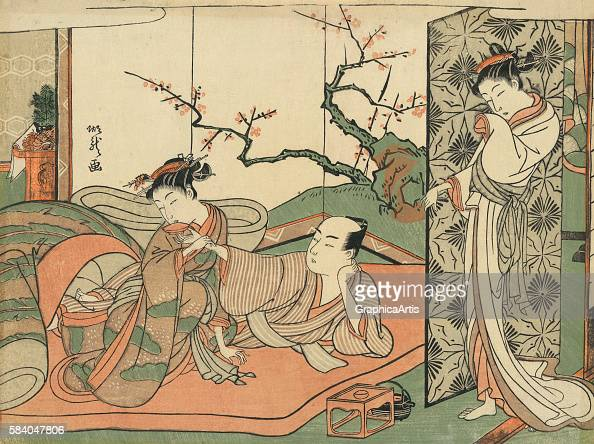 Courtesan Watching a Young Apprentice in Bed with a Client 176871 Japanese title is 'Futon no ue no sinzou to sore o nagameru yujo' Ukiyoe woodblock...
