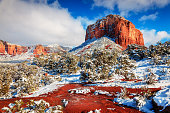 Courthouse Butte in Sedona, Arizona after heavy snow storm
