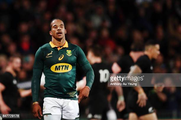 Courtnall Skosan of South Africa reacts during the Rugby Championship match between the New Zealand All Blacks and the South African Springboks at...