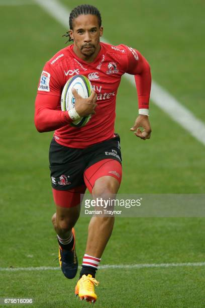 Courtnall Skosan of the Lions runs with the ball during the round 11 Super Rugby match between the Rebels and the Lions at AAMI Park on May 6 2017 in...