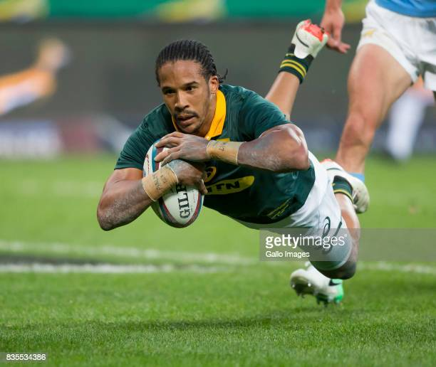 Courtnall Skosan of the Springbok Team during the Rugby Championship match between South Africa and Argentina at Nelson Mandela Bay Stadium on August...