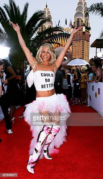 Courtney Act arrives at the inaugural MTV Australia Video Music Awards at Luna Park on March 3 2005 in Sydney Australia