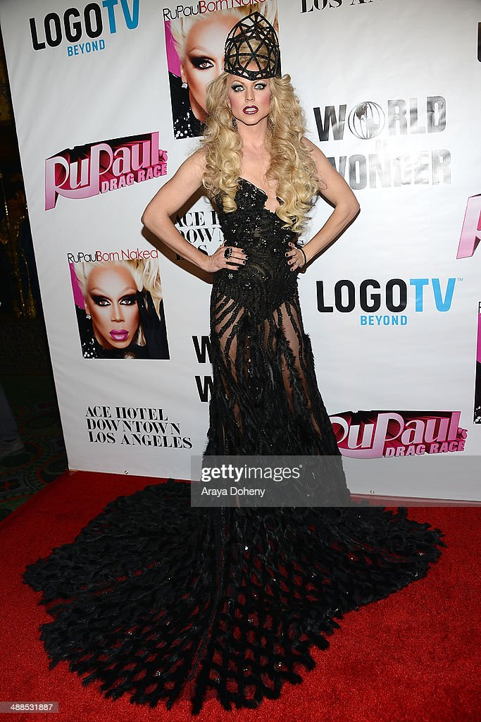 <a gi-track='captionPersonalityLinkClicked' href=/galleries/search?phrase=Courtney+Act&family=editorial&specificpeople=211399 ng-click='$event.stopPropagation()'>Courtney Act</a> attends Logo TV's 'RuPaul's Drag Race' season 6 reunion taping at The Theatre at Ace Hotel Downtown LA on May 6, 2014 in Los Angeles, California.