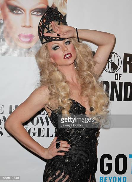 Courtney Act attends the Logo TV's 'RuPaul's Drag Race' reunion taping at The Theatre at Ace Hotel Downtown LA on May 6 2014 in Los Angeles California