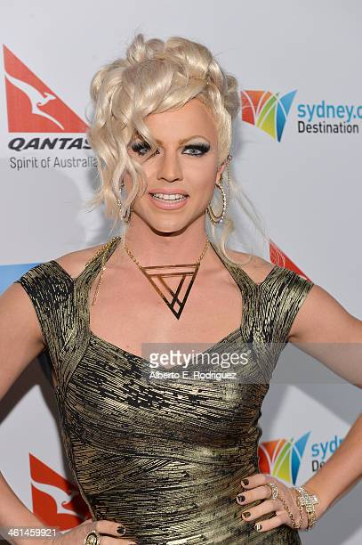 Courtney Act attends the Qantas Spirit Of Australia Party on January 8 2014 in Beverly Hills California