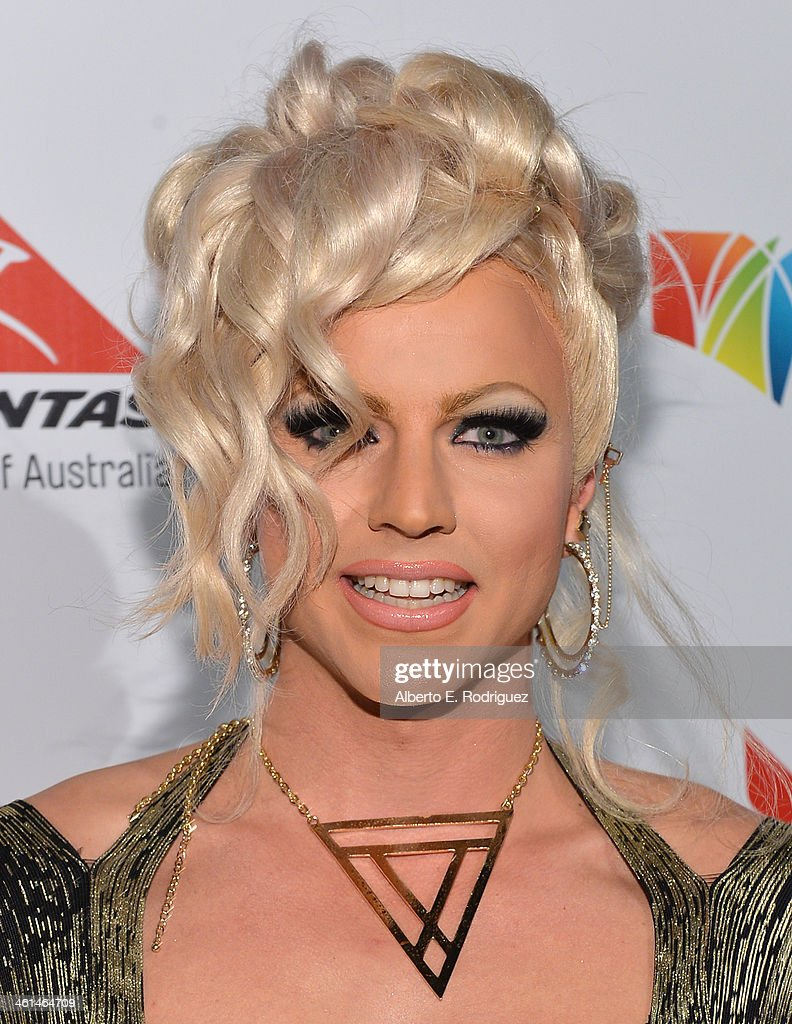 Courtney Act attends the Qantas Spirit Of Australia Party on January 8, 2014 in Beverly Hills, California.