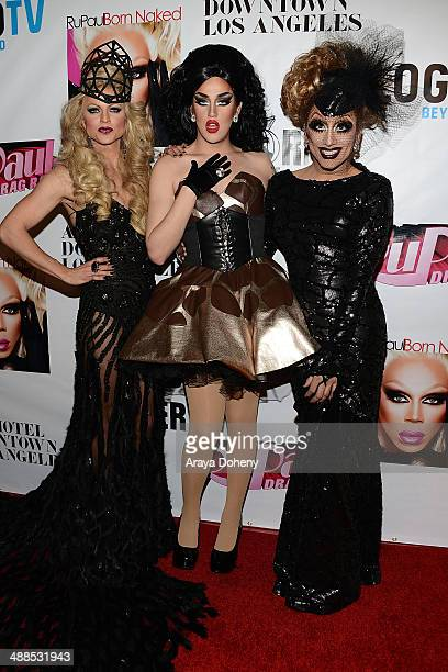 Courtney Act Bianca Del Rio and Adore Delano attend Logo TV's 'RuPaul's Drag Race' season 6 reunion taping at The Theatre at Ace Hotel Downtown LA on...