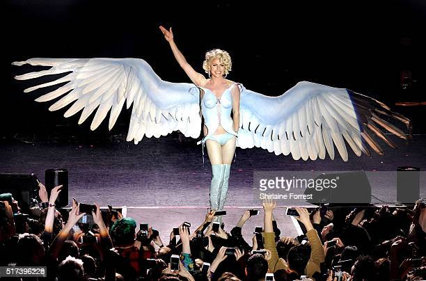 Courtney Act performs during RuPaul's Drag Race show at The O2 Ritz Manchester on March 24 2016 in Manchester England