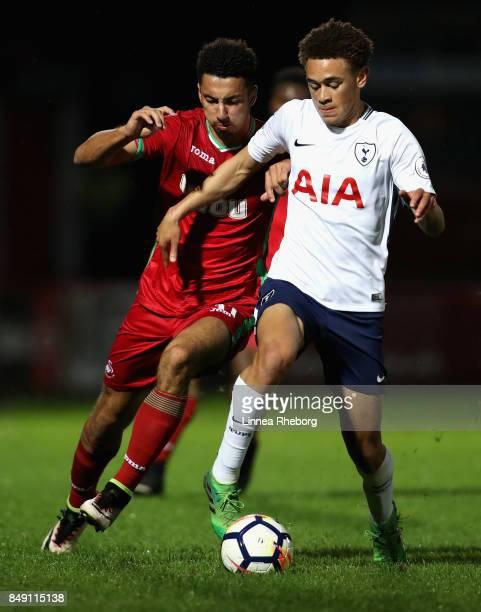 Courtney BakerRichardson of Swansea City and Luke Amos of Tottenham Hotspur battle for the ball during the Premier League 2 match between Tottenham...