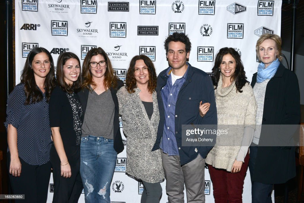 Courtney Bright, Nicole Daniels, <a gi-track='captionPersonalityLinkClicked' href=/galleries/search?phrase=Kathryn+Hahn&family=editorial&specificpeople=221548 ng-click='$event.stopPropagation()'>Kathryn Hahn</a>, <a gi-track='captionPersonalityLinkClicked' href=/galleries/search?phrase=Jill+Soloway&family=editorial&specificpeople=1131373 ng-click='$event.stopPropagation()'>Jill Soloway</a>, <a gi-track='captionPersonalityLinkClicked' href=/galleries/search?phrase=Josh+Radnor&family=editorial&specificpeople=599413 ng-click='$event.stopPropagation()'>Josh Radnor</a>, <a gi-track='captionPersonalityLinkClicked' href=/galleries/search?phrase=Michaela+Watkins&family=editorial&specificpeople=5985801 ng-click='$event.stopPropagation()'>Michaela Watkins</a> and <a gi-track='captionPersonalityLinkClicked' href=/galleries/search?phrase=Jane+Lynch&family=editorial&specificpeople=663918 ng-click='$event.stopPropagation()'>Jane Lynch</a> attend the Film Independent Directors Close-Up 2013 - The Actors: Getting Great Performances at Landmark Nuart Theatre on March 6, 2013 in Los Angeles, California.