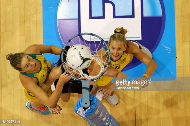 Courtney Bruce and April Brandley of Australia hunt for the rebound during the 2017 Quad Series match between the New Zealand Silver Ferns and the...