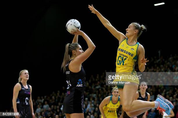 Courtney Bruce of Australia defends Te Paea SelbyRickit of New Zealand attempt at goal during the 2017 Quad Series match between the New Zealand...