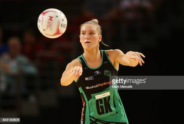 Courtney Bruce of the Fever passes during the round two Super Netball match between the Giants and the West Coast Fever at Qudos Bank Arena on...