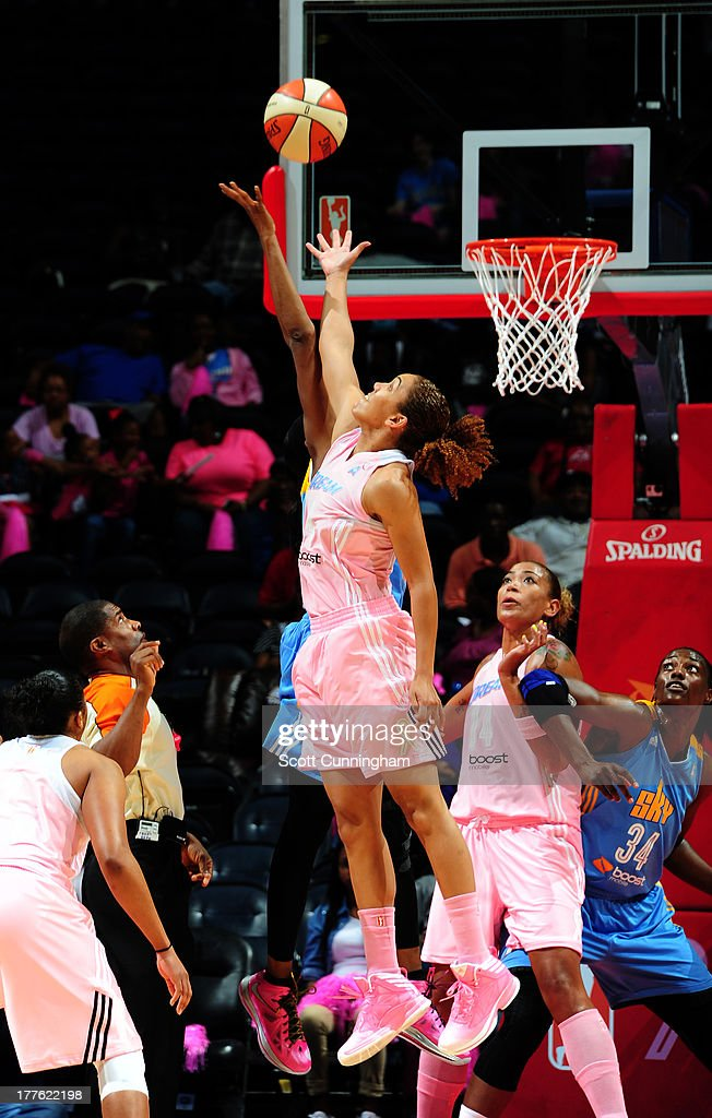 Courtney Clements #54 of the Atlanta Dream jumps against the Chicago Sky at Philips Arena on August 24 2013 in Atlanta, Georgia.