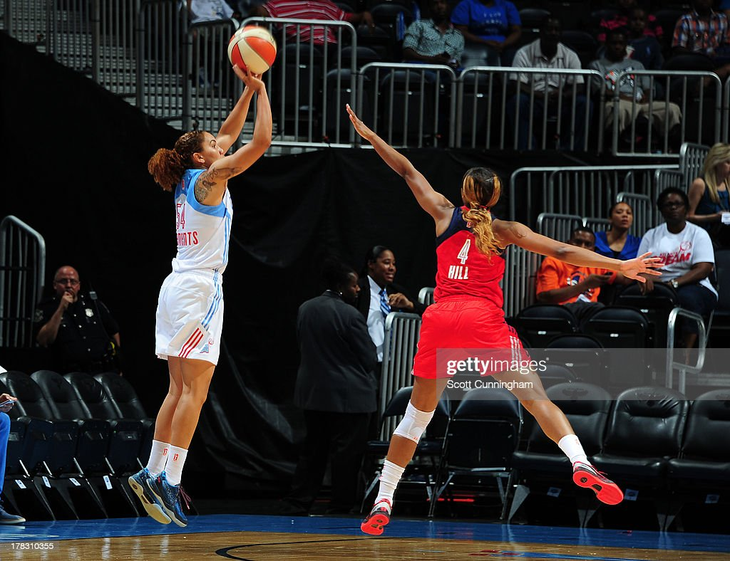 Courtney Clements #54 of the Atlanta Dream puts up a shot against the Washington Mystics at Philips Arena on August 28 2013 in Atlanta, Georgia.