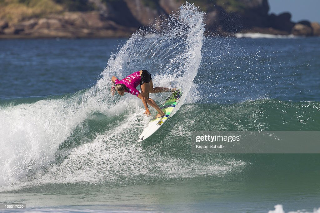 Courtney Conlogue of the United States of America surfs during round one on May 10, 2013 in Rio de Janeiro, Brazil.