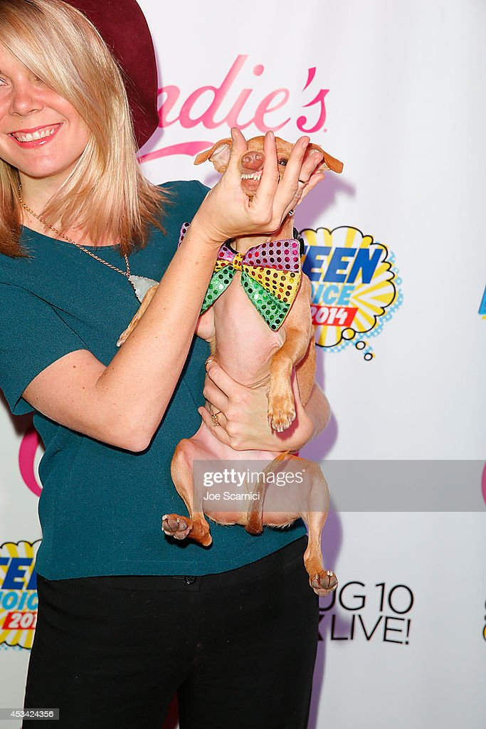 Courtney Dasher and her dog Tuna of Tuna Melts My Heart attend DigiTour Hosts Teen Choice 2014 Awards Official Pre-Party at Gibson Guitar Entertainment Relations Showroom on August 9, 2014 in Beverly Hills, California.