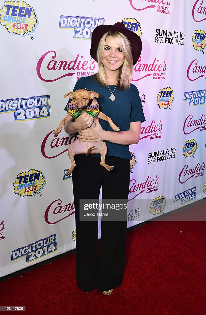 Courtney Dasher and her dog Tuna of Tuna Melts My Heart attend Candie's Presents The Official Pre-Party For Teen Choice 2014, A DigiTour Production at The Gibson Showroom on August 9, 2014 in Los Angeles, California.
