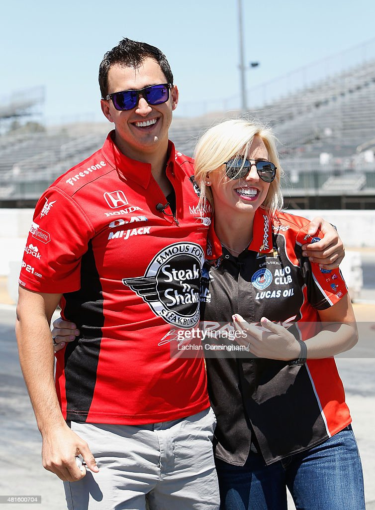 <a gi-track='captionPersonalityLinkClicked' href=/galleries/search?phrase=Courtney+Force&family=editorial&specificpeople=8957288 ng-click='$event.stopPropagation()'>Courtney Force</a>, NHRA's winningest female driver (right) laughs with her fiance, INDYCAR driver <a gi-track='captionPersonalityLinkClicked' href=/galleries/search?phrase=Graham+Rahal&family=editorial&specificpeople=709487 ng-click='$event.stopPropagation()'>Graham Rahal</a>, during a racing skills challenge at Sonoma Raceway on July 22, 2015 in Sonoma, California.