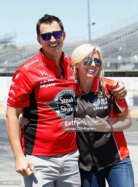 Courtney Force NHRA's winningest female driver laughs with her fiance INDYCAR driver Graham Rahal during a racing skills challenge at Sonoma Raceway...