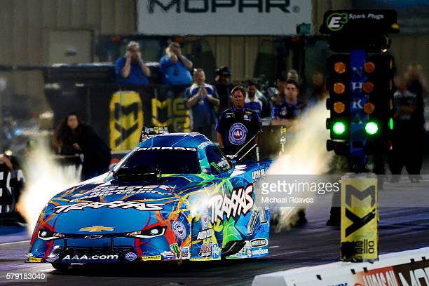 Courtney Force takes off for qualifying during day one of the MoPar Mile High Nationals at Bandimere Speedway on July 22 2016