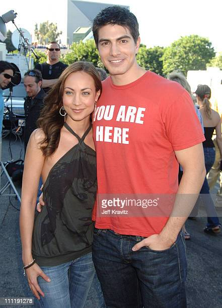 Courtney Ford and Brandon Routh during 2006 Teen Choice Awards Arrivals at Gibson Amphitheatre in Universal City California United States