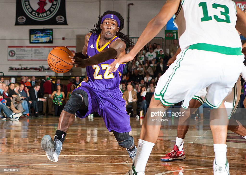 Courtney Fortson #22 of the Los Angeles D-Fenders drives to the basket against Fab Melo #13 of the Maine Red Claws on November 30, 2012 at the Portland Expo in Portland, Maine.