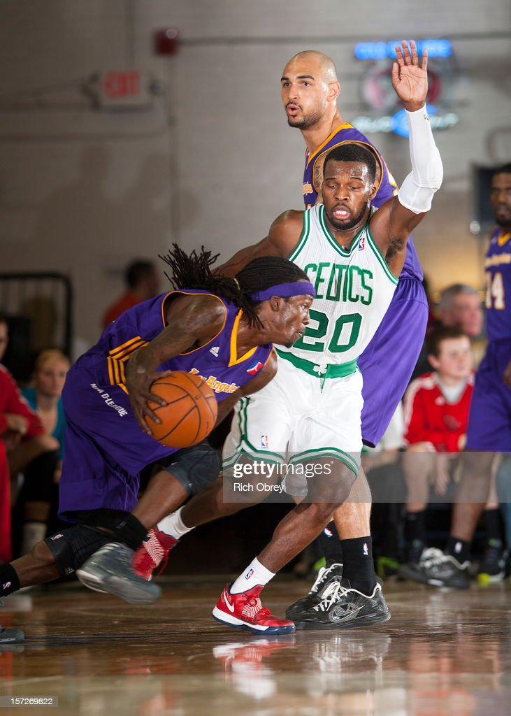 Courtney Fortson #22 of the Los Angeles D-Fenders drives to the basket against Shelvin Mack #20 of the Maine Red Claws on November 30, 2012 at the Portland Expo in Portland, Maine.