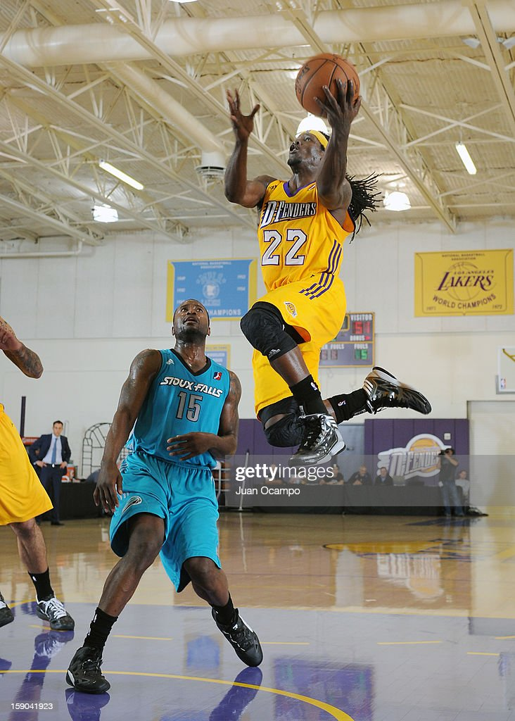 Courtney Fortson #22 of the Los Angeles D-Fenders goes to the basket against <a gi-track='captionPersonalityLinkClicked' href=/galleries/search?phrase=Donald+Sloan&family=editorial&specificpeople=4185817 ng-click='$event.stopPropagation()'>Donald Sloan</a> #15 of the Sioux Falls Skyforce on January 5, 2013 at Toyota Sports Center in El Segundo, California.
