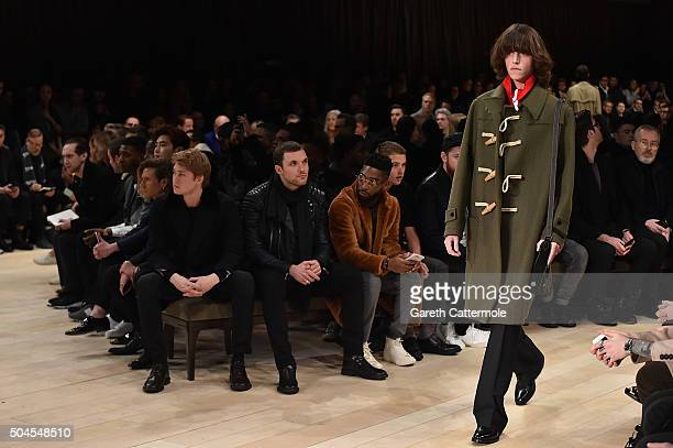 Courtney Freckleton Jamal Edwards Lee Jong Suk Dougie Poynter Joe Alwyn Ed Skrien Tinie Tempah and Rafferty Law wearing Burberry attend the Burberry...