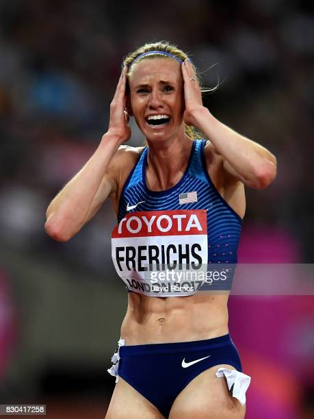 Courtney Frerichs of the United States silver celebrates after the Women's 3000 metres Steeplechase final during day eight of the 16th IAAF World...