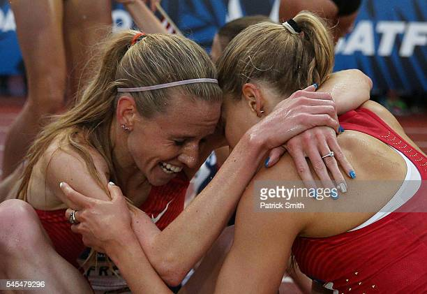 Courtney Frerichs second place and Colleen Quigley third place celebrate after finishing in the Women's 3000 Meter Steeplechase Final during the 2016...