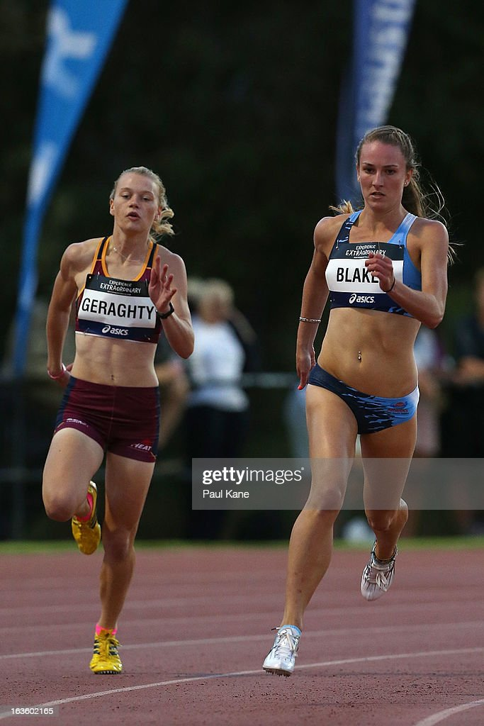 Courtney Geraghty of Queensland and Molly Blakey of New South Wales compete in the women's u18 400 metre final during day two of the Australian Junior Championships at the WA Athletics Stadium on March 13, 2013 in Perth, Australia.