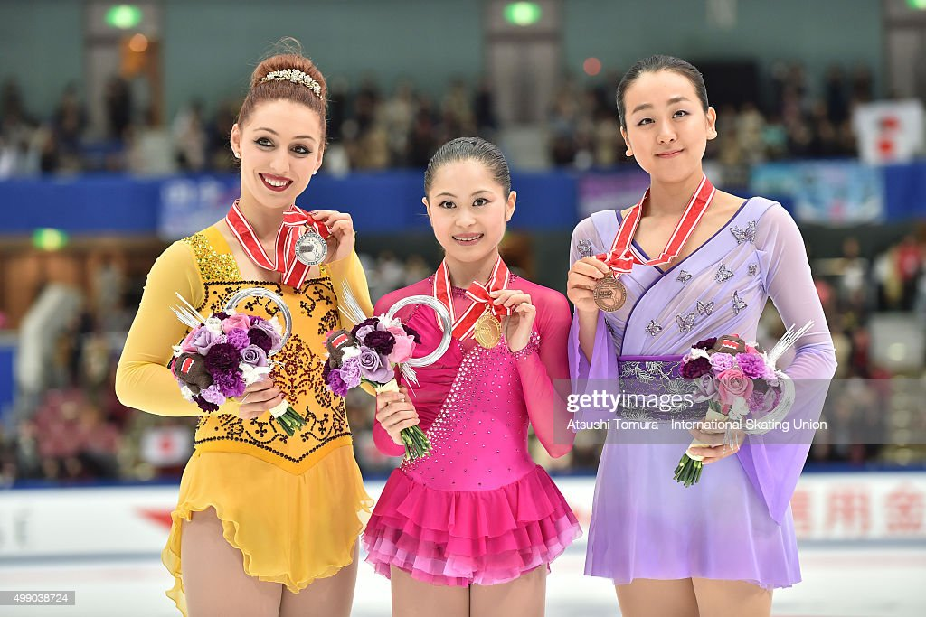Courtney Hicks (silver) of the USA, <a gi-track='captionPersonalityLinkClicked' href=/galleries/search?phrase=Satoko+Miyahara&family=editorial&specificpeople=10090666 ng-click='$event.stopPropagation()'>Satoko Miyahara</a> (gold) and <a gi-track='captionPersonalityLinkClicked' href=/galleries/search?phrase=Mao+Asada&family=editorial&specificpeople=247229 ng-click='$event.stopPropagation()'>Mao Asada</a> (bronze) of Japan pose with medals during the day two of the NHK Trophy ISU Grand Prix of Figure Skating 2015 at the Big Hat on November 28, 2015 in Nagano, Japan.