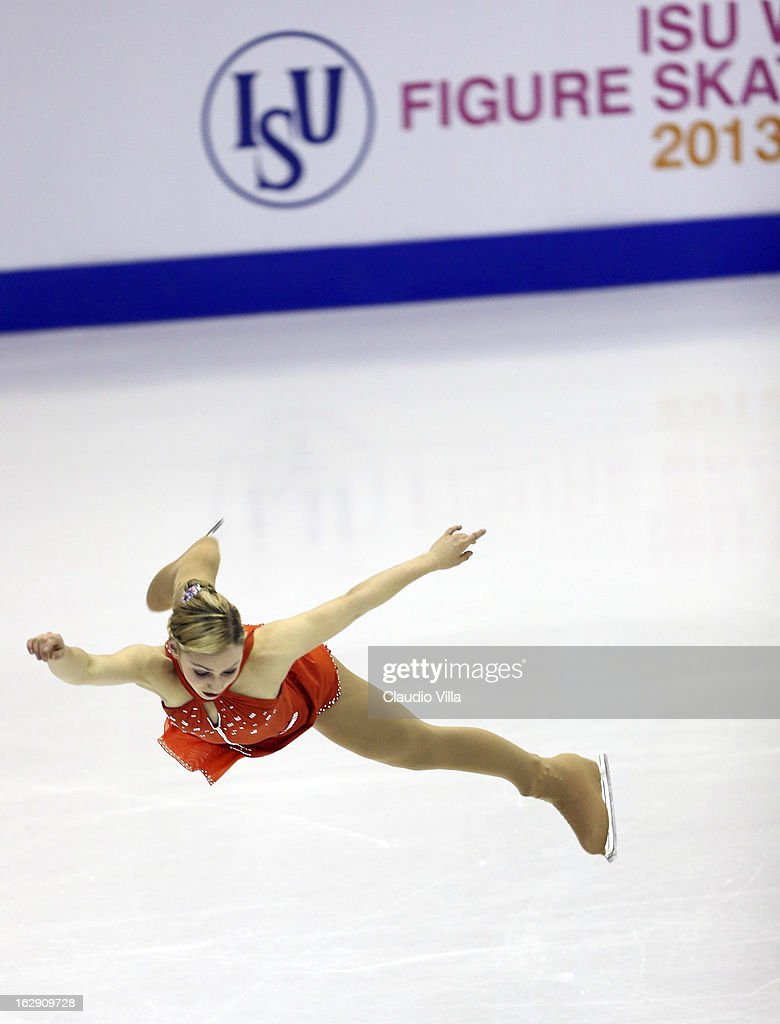 Courtney Hicks of Usa skates in the Junior Ladies Short Program during day 5 of the ISU World Junior Figure Skating Championships at Agora Arena on March 01, 2013 in Milan, Italy.