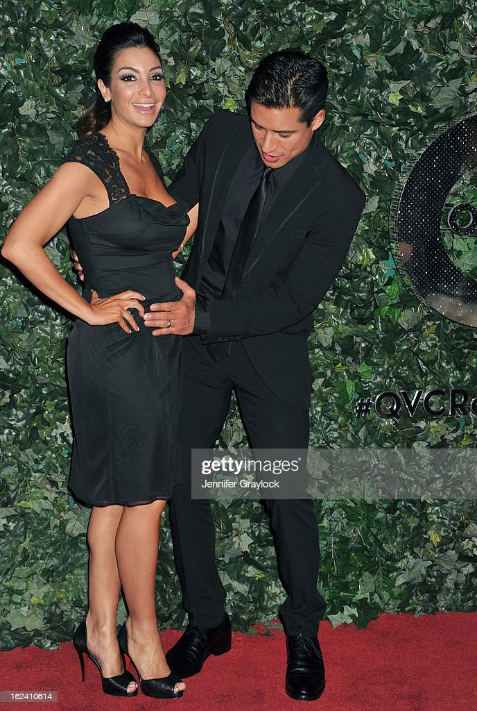 Courtney Laine Mazza and Actor Mario Lopez attend the QVC Red Carpet Style Party held at Four Seasons Hotel Los Angeles at Beverly Hills on February 22, 2013 in Beverly Hills, California.