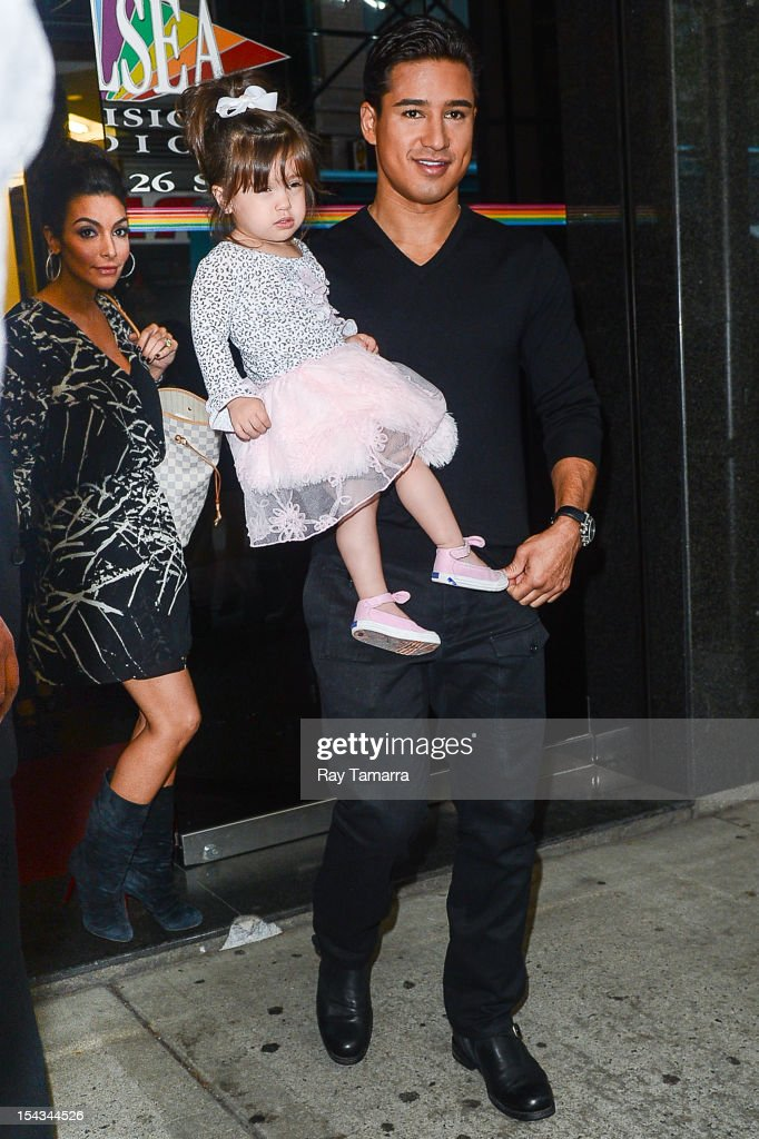 Courtney Laine Mazza, Gia Francesca Lopez, and TV personality <a gi-track='captionPersonalityLinkClicked' href=/galleries/search?phrase=Mario+Lopez&family=editorial&specificpeople=235992 ng-click='$event.stopPropagation()'>Mario Lopez</a> leave the 'Wendy Williams Show' taping at the Chelsea Studios on October 18, 2012 in New York City.