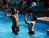 Courtney Lawes attempts to bloke a shot by Alex Goode during the England rugby recovery session held at the Intercontinental Hotel on June 8 2016 in...