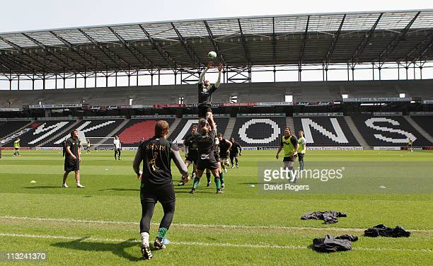 Courtney Lawes catches the ball during the Northampton Saints training session at Stadium MK on April 28 2011 in Milton Keynes England