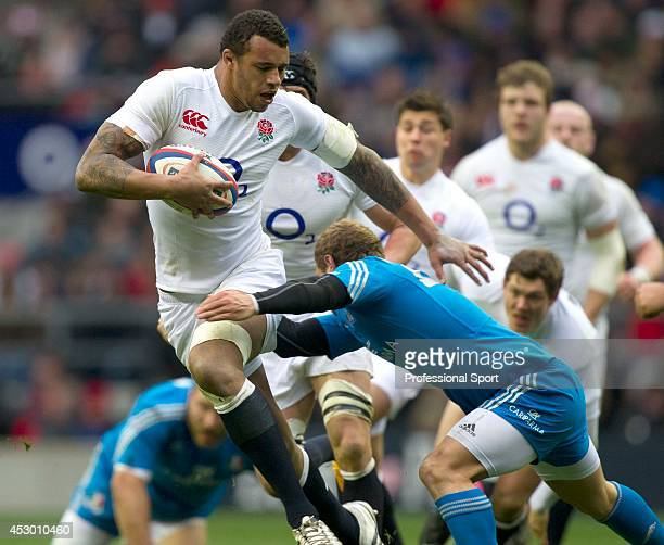 Courtney Lawes in action for England during the RBS Six Nations match between England and Italy at Twickenham Stadium on March 10 2013 in London...