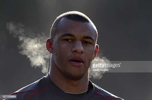 Courtney Lawes looks on during the England training session held at Pennyhill Park Hotel November 26 2010 in Bagshot England